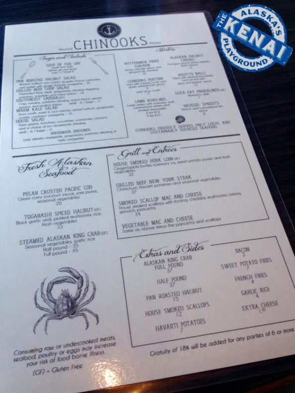 Chinooks Bar and Grill Menu