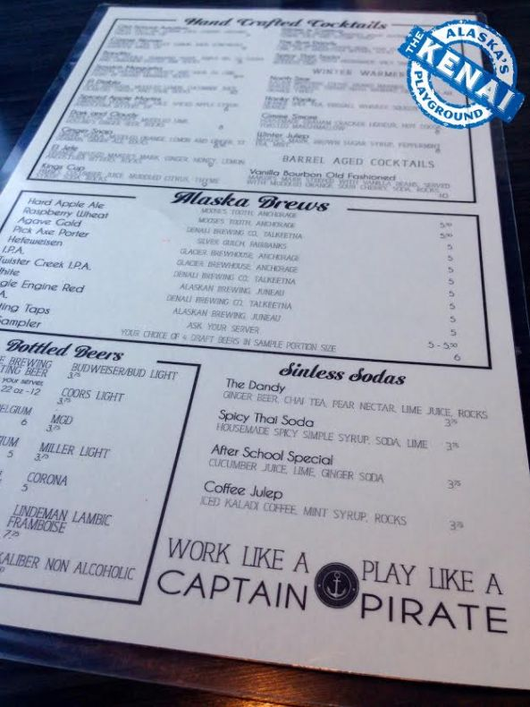 Chinooks Bar and Grill Seward Menu
