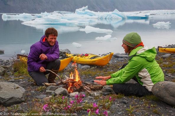 Camping in Bear Glacier Lagoon, Kenai Fjords National Park, Alaska