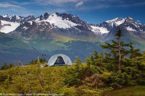 Camping near the Lost Lake Trail, Chugach National Forest, Seward, Alaska.