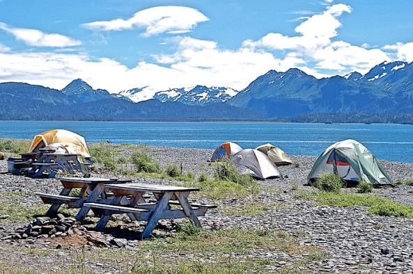 Tent Camping By Cook Inlet On Homer Spit