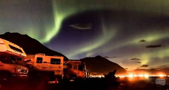 Campers in Seward, AK were treated to an amazing Northern Lights show. Photo from Kirk Alkire.