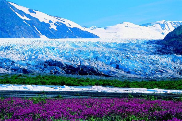Photo from www.alaska.org of Spencer Glacier.