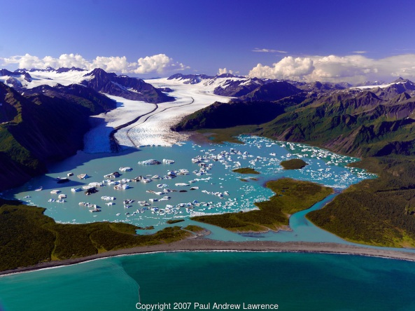 Bear Glacier flowes down from the Harding Icefield