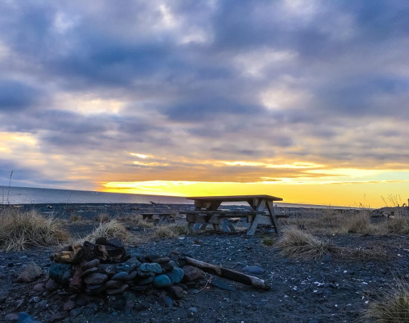 fire picnic table sunset - homer ak - 3.18