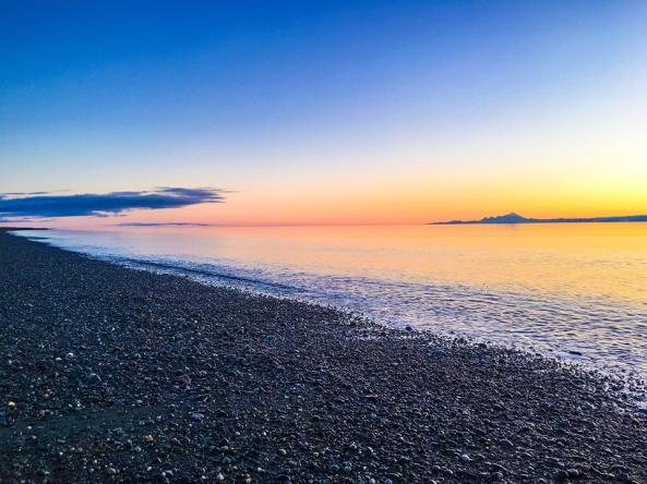 Sunset down Cannery Beach Road overlooking Cook Inlet